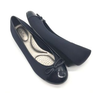 Abella Cushioned Bow Ballet Flats Navy Blue 6.5